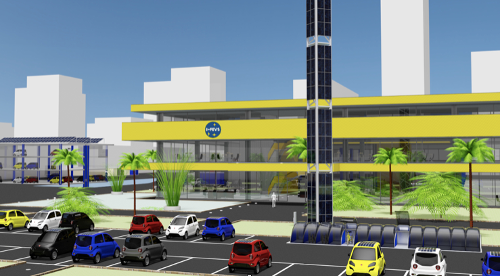 3D view of the electric vehicle manufacturing plant designed by IFEVS